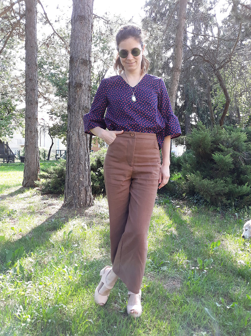 In The Folds meets Peppermint Magazine: the review of Wide Leg Pants and Ruffle Sleeve top patterns