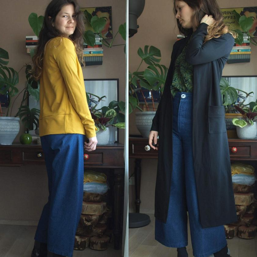 Black vs Yellow – The Blackwood cardigan; pattern by Helen's Closet